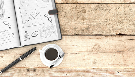 top view of an open paper notebook, a pen and a cup of coffee. hand drawn doodles of business plan, some space for custom text at the right, wooden background (3d render) photo