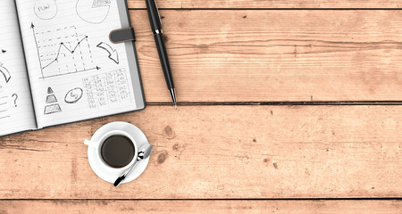 open plan: top view of an open paper notebook, a pen and a cup of coffee. hand drawn doodles of business plan, some space for custom text at the right, wooden background (3d render)
