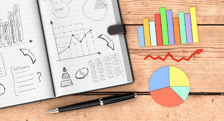 top view of an open paper notebook, a pen, business charts. hand drawn doodles of business plan,  wooden background (3d render) photo