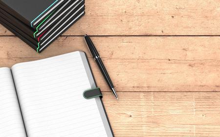 bovenaanzicht van een papieren notitieblok met blanco pagina's, een pen en een stapel papier notebooks op houten achtergrond, wat lege ruimte op het recht voor aangepaste tekst (3d render) Stockfoto