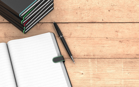 top view of a paper notebook with blank pages, a pen, and a stack of paper notebooks on wooden background, some empty space on the right for custom text  (3d render)