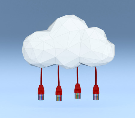 one stylized cloud made with the tecnique of lowpoly modeling, with network cables connected to it, blue background (3d render) photo