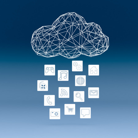 cloud computer: one stylized cloud made with the technique of wireframe modeling, computer icons,  blue background (3d render)