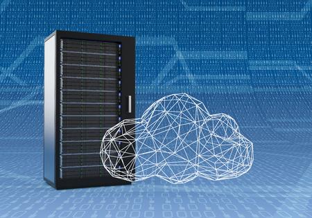 1 台のコンピューター サーバー キャビネット付きワイヤ フレーム モデリング、2 進数で青い背景の技法で作られた雲 (3 d レンダリング) 写真素材