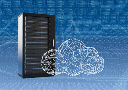 one computer server cabinet with a cloud made with the technique of wireframe modeling, blue background with binary numbers (3d render)