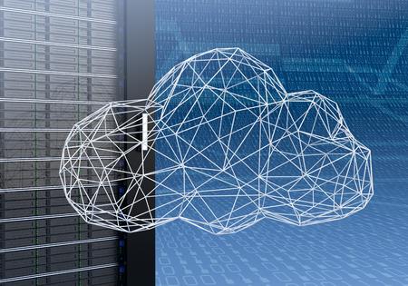 ワイヤ フレーム モデリング、2 進数で青い背景の技法で作った雲をクローズ アップ キャビネット コンピューター サーバーのビュー (3 d レンダリン