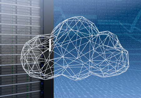 close up view of a computer server cabinet with a cloud made with the technique of wireframe modeling, blue background with binary numbers (3d render)