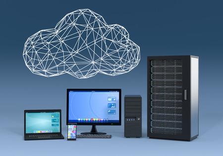 meseros: portátil, smartphone, PC de escritorio y servidor de gabinete informático, con una nube hecha con la técnica de modelado de alambre, fondo azul (3d) Foto de archivo