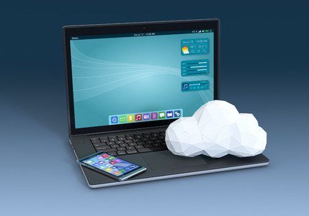 one computer notebook with a smartphone and a cloud made with the technique of low poly modeling, blue background (3d render) photo
