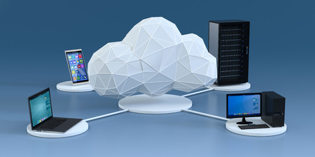 front view of a smartphone, a computer notebook, a desktop pc, a computer server cabinet, the devices are connected to a cloud made with the technique of low poly modeling, blue background (3d render)