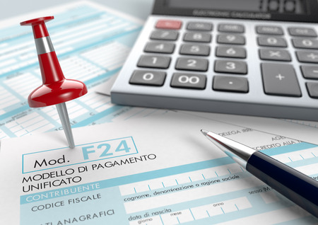 close up view of F24 form for italian taxes, with a pen, a red pin and an electronic calculator (3d render)