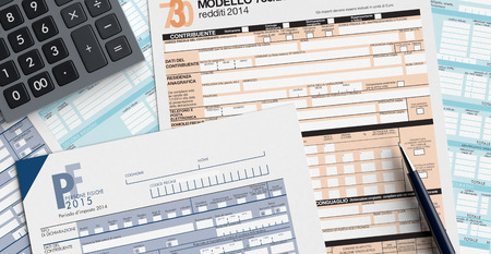 top view of forms for italian taxes with a pen and an electronic calculator (3d render) photo