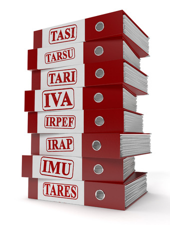 declaration: one stack of office file folders with a label with the name of several italian taxes: imu, irap, irpef, iva, tares, tari, tarsu, tasi (3d render)