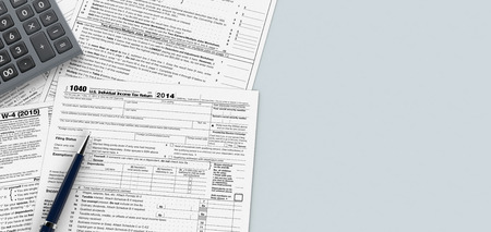 tax law: top view of forms for usa taxes with a pen and an electronic calculator, empty spaces for custom text at the right (3d render)