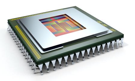 白い背景の上の 1 つの CPU、cpu は、カバーなし、回路表示 (3 d レンダリング)