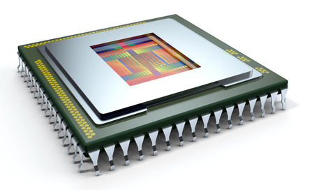 one CPU on white background, the cpu is without the cover and the circuits are visible (3d render) photo