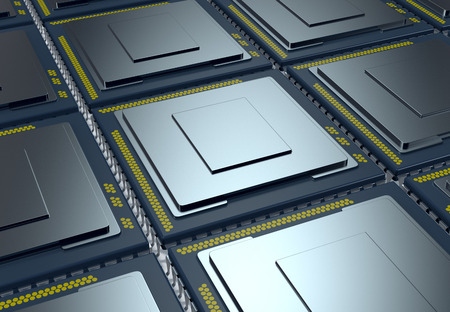 wafer: top up view of an array of CPUs (3d render) Stock Photo