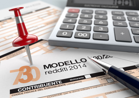 close up view of 730 form for italian taxes, with a pen, a red pin and an electronic calculator (3d render) photo