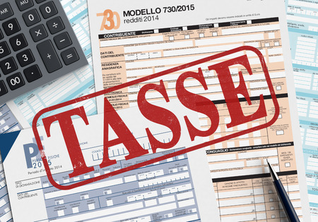 close up view of forms for italian taxes, with a pen and an electronic calculator, the word tasse printed on foreground (3d render) photo