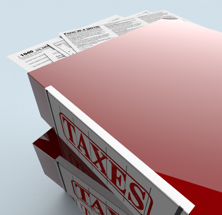 declaration: close up view of a stack of office file folders with forms for usa taxes (3d render)