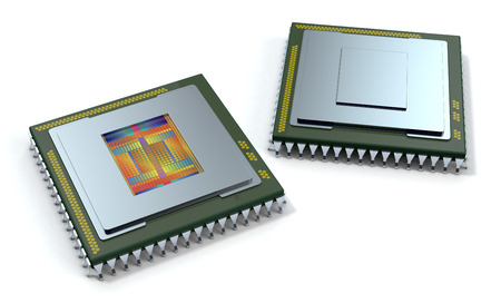 semiconductors: two CPUs on white background, one cpu is without the cover and the circuits are visible (3d render) Stock Photo