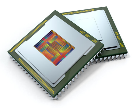 wafer: two CPUs on white background, one cpu is without the cover and the circuits are visible (3d render) Stock Photo