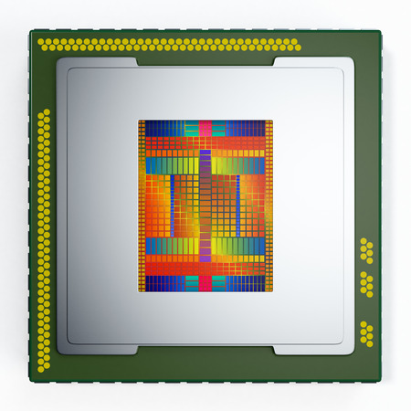 micro chip: top view of a CPU on white background, the cpu is without the cover and the circuits are visible (3d render)