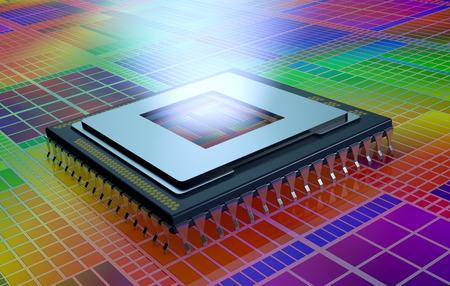 silicio: vista de cerca de una CPU en un circuito electrónico, la CPU es sin la cubierta y una luz que sale del agujero (3d) Foto de archivo
