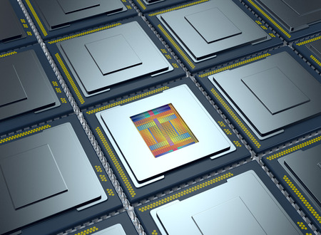 silicon: top up view of an array of CPUs, one cpu is without the cover and the circuits are visible (3d render)