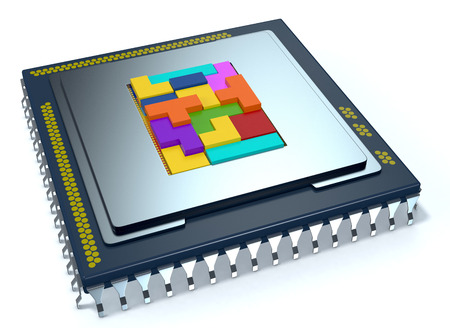 semiconductors: one CPU on white background, the cpu is without the cover and there are some colored puzzle blocks (3d render)