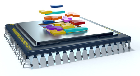 one CPU on white background, the cpu is without the cover and there are some colored puzzle blocks (3d render)