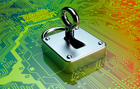 one padlock with electronic circuits on background, concept of computer security (3d render) photo