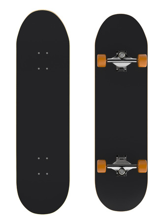 skate board: front and rear view of a skateboard on white background (3d render)