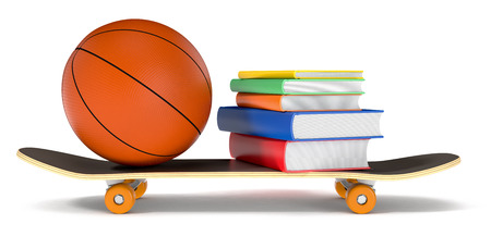 skateboard, basketball and books, concept of young generation (3d render) photo