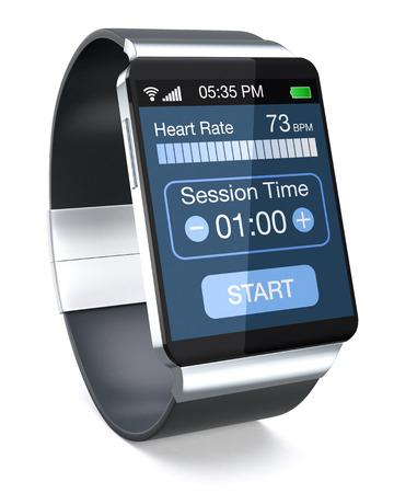 フィットネスのアプリで、白い背景の上のスマートウォッチ (3 d レンダリング)