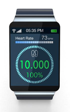 흰색 배경에 피트 니스 애플과 함께 smartwatch의 전면 뷰 (3d 렌더링)