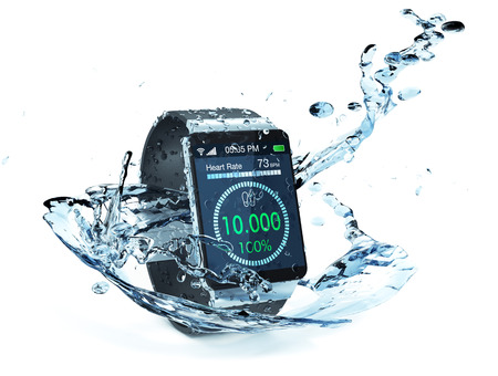 smartwatch met fitness app en water splash eromheen (3d render) Stockfoto