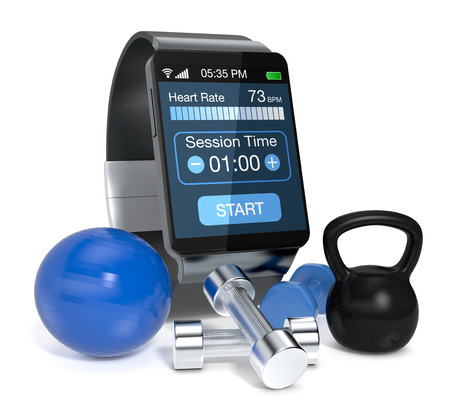 wearable: smartwatch with fitness app, fitness tools around it (3d render) Stock Photo