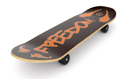 skate board: closeup view of a skateboard on white background (3d render)