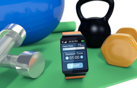 smartwatch with fitness app, fitness tools around it (3d render) photo