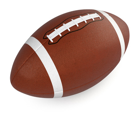 白い背景の上のフットボールまたはラグビー ボール (3 d レンダリング)