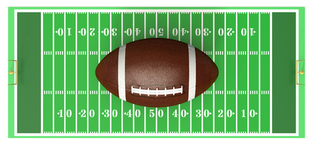 yardline: top view of a football field with a big ball on white background (3d render) Stock Photo