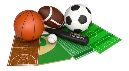 set of sport balls and fields, soccer, basketball, football and baseball (3d render) photo