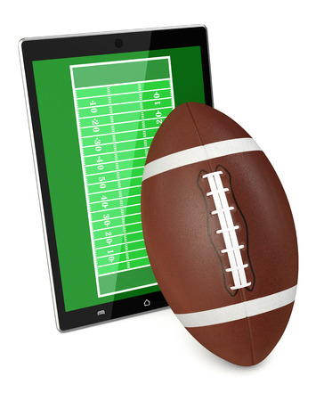 yardline: tablet pc with football field and a ball, concept of sport and new communication technology (3d render) Stock Photo