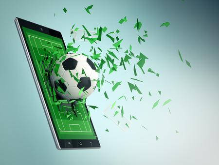 balones deportivos: Tablet PC con campo de fútbol y una bola que sale al romper el cristal, el concepto de deporte y las nuevas tecnologías de comunicación (3d) Foto de archivo
