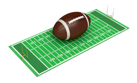 yardline: football field with a big ball on white background (3d render)