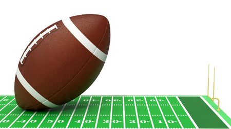 yardline: close-up view of a football field with a big ball on white background (3d render) Stock Photo