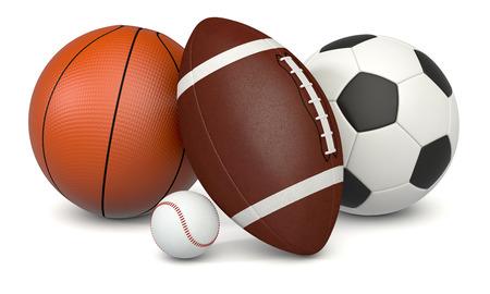 pelota de futbol: un conjunto de balones de deporte, fútbol, ??baloncesto, fútbol y béisbol, sobre fondo blanco (3d)