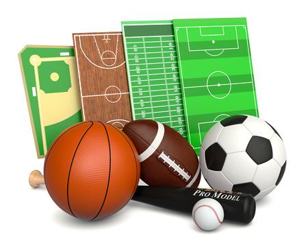 set of sport balls and fields, soccer, basketball, football and baseball (3d render)
