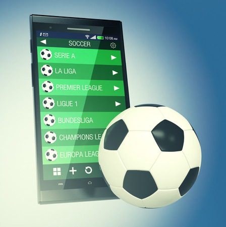 smart goals: smartphone with a sport app with the most important soccer leagues and a ball, concept of sport and new communication technology (3d render) Stock Photo